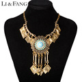 Li & Fang 2017 Maxi Statement Necklace & Pendant Women Gypsy Vintage Choker Collar Ethnic Bohemian Necklace Women  Jewelry