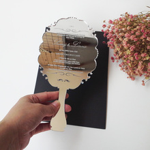 Sample order for 123*238mm handheld mirror shape silver mirror acrylic wedding invitation card laser engraving letters
