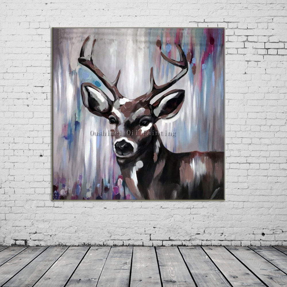 Hand Painted Knife Animals Deer Oil Painting Hang Paintings Modern Abstract Wall