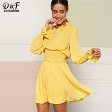 e91a342f540c092 Dotfashion желтый галстук шеи гофрированная Панель широкая талия элегантное  платье Для женщин 2019 Повседневное Линия Весна