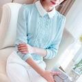 Blusa mulheres camisa 2017 Outono Workweark ol camisa blusa Da Moda chiffon Patchwork feminino Casual manga Comprida Casual Tops de renda
