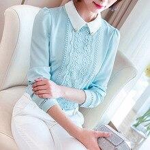 Dingaozlz Women blouse shirt 2017 Workweark ol shirt Fashion chiffon blouse female Patchwork Casual Long sleeve Casual lace Tops