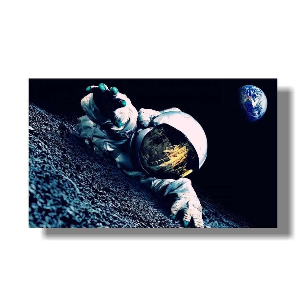 Beers Outer Space Earth Astronauts Relaxing Moon Landing Fantasy Poster Wall Pictures For Living Room 80X133 cm
