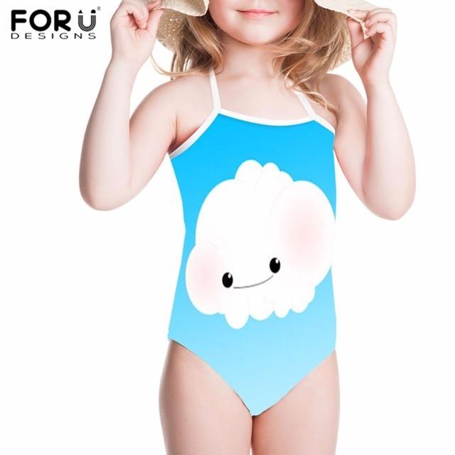 e5fcca5063b4f4 FORUDESIGNS Girls Swimsuit One-Piece Children Swimwear Cute Cloud Sky  Printing Kids Bathing Suit for Beach Swimming Suits Bikini