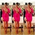 Фуксия длинный рукав официальный коктейльный повязки платье платья красный ковёр сексуальный короткая знаменитости платья обычный сделать