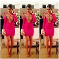 2014 Cheap Fuchsia Long Sleeve Formal Cocktail Bandage Dress Gowns Red Carpet Sexy Short Celebrity Dresses Custom Make