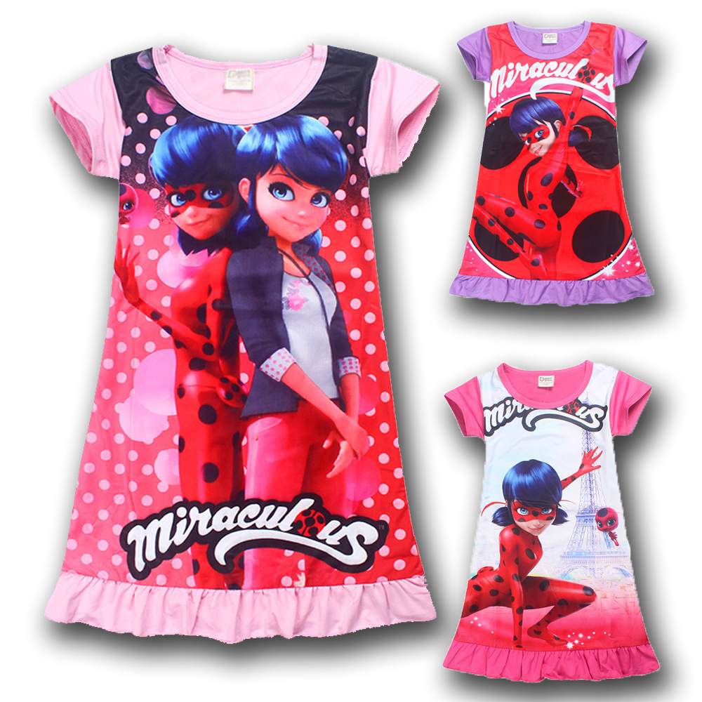 Lady Bug Pink Purple Cartoon Clothes Kids Short Sleeve Dress Miraculous Ladybug Dresses for Girls Summer Evening Party Clothing