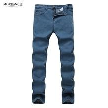MORUANCLE New Mens Solid Stretchy Jeans Joggers Slim Fit Straight Plain Denim Pants Trousers Black Blue Plus Size 28-42