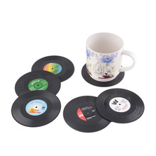 6pcs/set Round Table Glass Cup Mat Pad Tableware Pads vinyl CD Record Drink Drinks Coasters Mats Cups Placemat