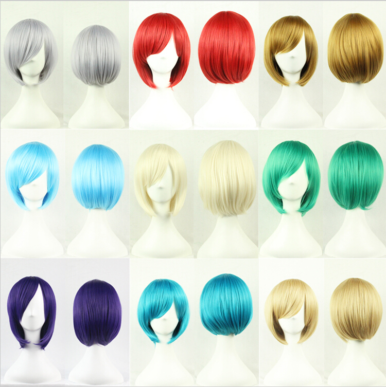 1PC Free shipping 25cm Short Wigs Straight Womens Nautral Cosplay Wig Full Panic Synthetic Green Purple