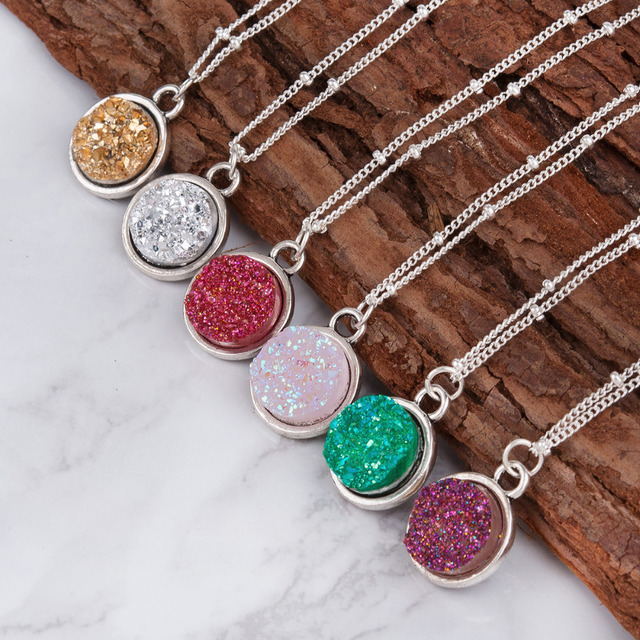 DoreenBeads 2018 Summer Handmade Drusy Resin Cabochon Round Pendant Necklace New