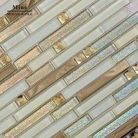 Strip glass tile mix metal mosaic mirror glass mosaic
