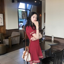 NiceMix 2019 Summer Womens Fashion Korean Style new black red temperament dress Slim was thin tassel short-sleeved