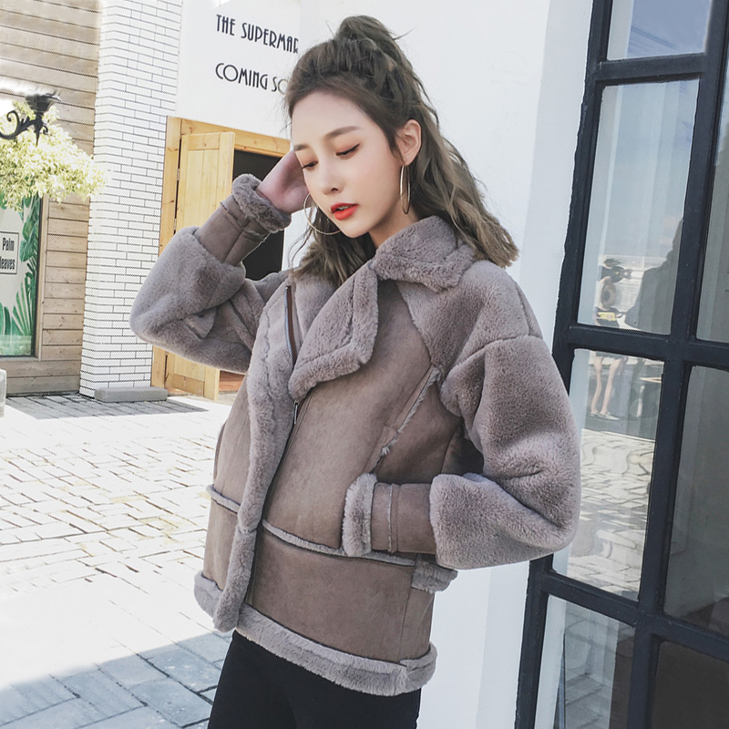 Hiver coréen épaississement fourrure de lapin plus à manches longues polaire moto veste femme peau de daim lâche manteau marée