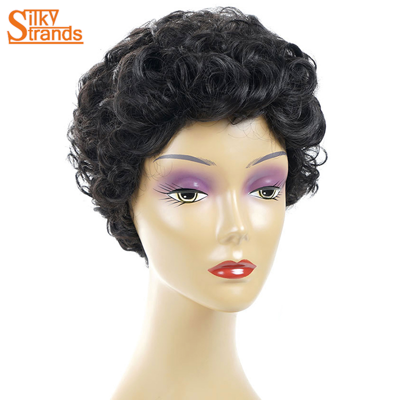 Silky Strands Kinky Curly Afro Wigs For Women Natural Black Short Synthetic Wig African American Femal Hair Wig