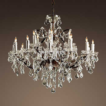 Vintage Rustic Crystal Chandelier Lighting Candle Chandeliers Pendant Lamp Hanging Light for Dining Room - DISCOUNT ITEM  51% OFF All Category