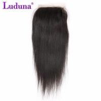 Luduna Peruvian Lace Closure 4 4 Free Part Straight 100 Human Hair Closure Natural Black Free