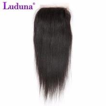 Luduna перуанский прямые волосы 4*4 Синтетическое закрытие шнурка волос бесплатная часть 100% Человеческие волосы Накладные волосы не Реми естественный Цвет 8-20 дюймов Бесплатная доставка