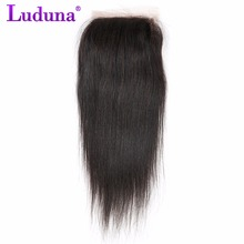 Luduna Peruvian Straight Hair 4*4 Lace Closure Free Part 100% Non-remy Human Hair Bundles Natural Color 8-20Inch Free Shipping