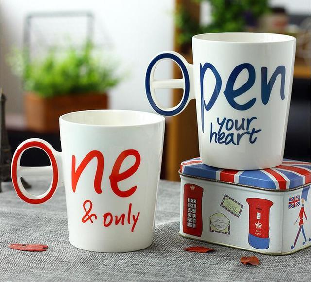 Connu 2 pcs/lot Couple tasse En Céramique Creative Café Tasse ONE & IPEN  RK75