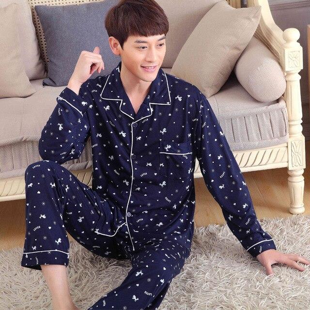 Cotton Pajama Sets For man Long Sleeve Stars Navy blue Sleepwear Mens 100% Cotton turn down pajama suit homewear clothes XXXL