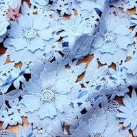 American Style Pink Blue 3D Floral Applique Heavyweight Floral Embroidery Lace Fabric For Dress Tissu Telas