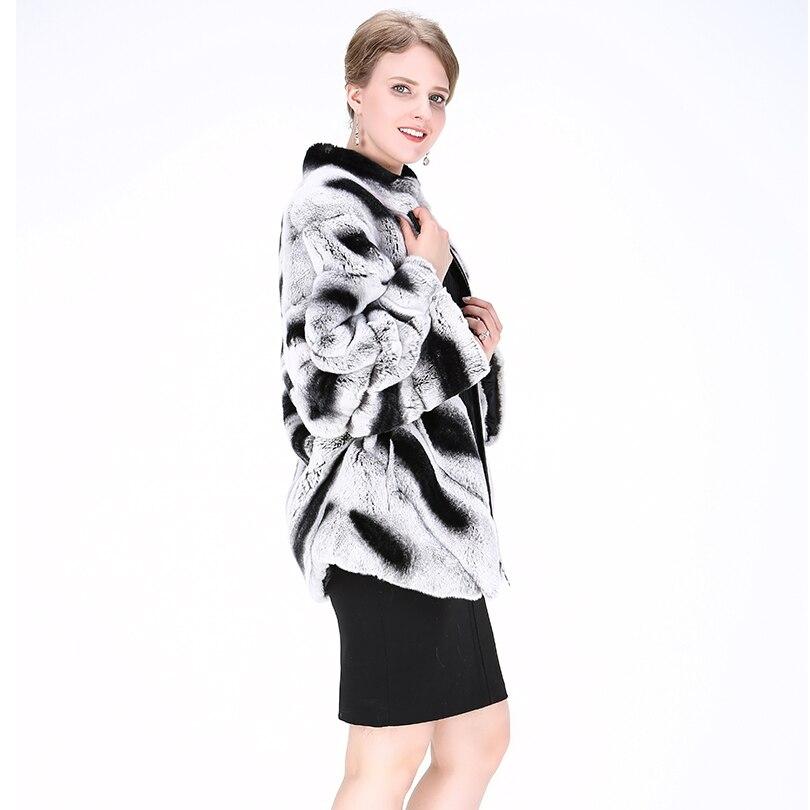 Naturel Coarab002 2018 Réel Épais Rayé Lapin Gris Manteau Clair Longue De D'hiver Mode Et Pelt Veste Pleine Femmes Noir Chaud Fourrure Bg4RAB