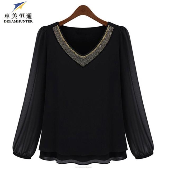 Nova Verão 2015 Plus Size 3XL 4XL 5XL Mulheres Chiffon Preto blusa decote em V manga Comprida Casual Blusas e Camisas Tops Blusas