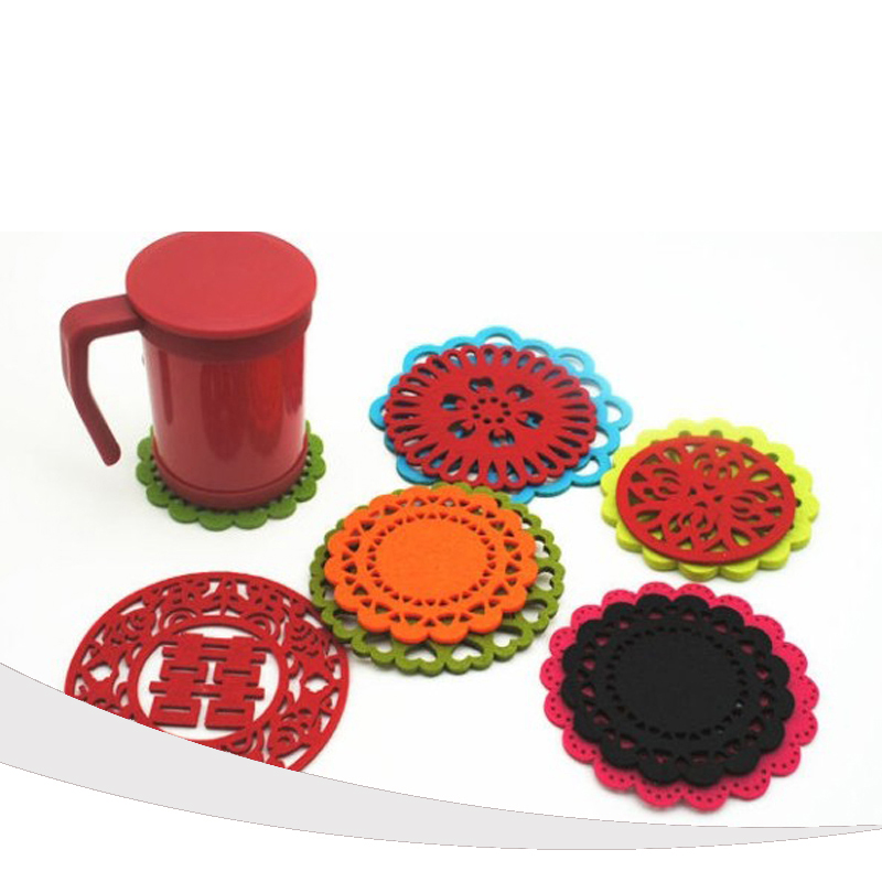 TCHY 8pcs Felt Coaster Cup Placemat Household Non-woven Mat Pad for Drinking Mugs Glass Home Decoration Accessories Mordern