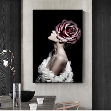 Abstract Girl with Flowers Canvas Art Paintings On The Wall Posters And Prints Modern Pop For Home Decor