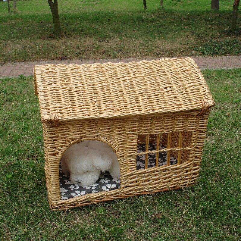 Домик для домашних животных с окошком, собачьи кровати для маленьких собак, большие средние кошки из ротанга, питомник, плетеная собака, кошка, диван кровать, охлаждающий коврик, дышащий домашний