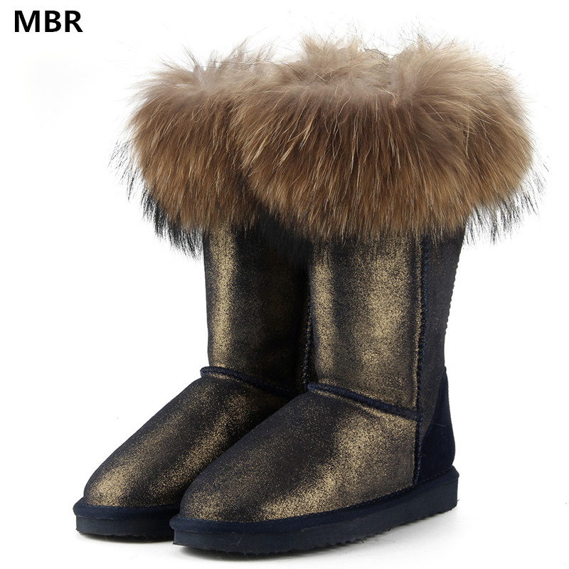цена на MBR Fashion Natural Real Fox Fur Women's Winter UG Snow Boots Warm Long Boots Genuine Cow Leather High Winter Boots Women Shoes