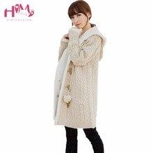 Здесь можно купить    long section of cashmere knit thickened Korean large cap code twist sweater cardigan coat winter  Women