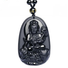 Natural Obsidian Pendant Chinese Zodiac God Buddha Patron Saint Women Men's Amulet Lucky Jades Jewelry Pendants+Beads Necklace