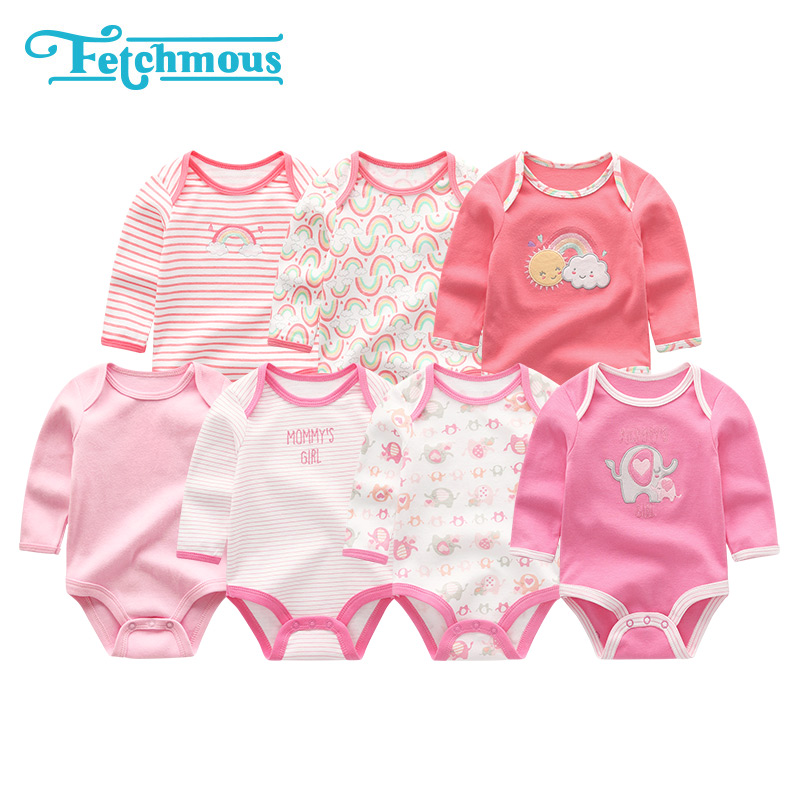 7Pcs/sets Baby Boys Rompers Clothes Cotton Newborn Girls Long Sheeve Roupa de bebe Costume 3 6 9 12M Baby Pajamas