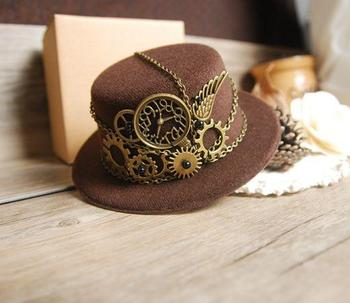 Retro Steampunk Gear Vintage Mini Top Hat Handmade Brown Hats Party Cos-Play Accessories Vintage 1
