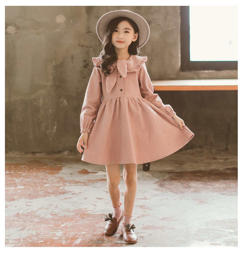 School Corduroy Teen Girls Cotton Dress Children Long-Sleeved A line Autumn Baby Girls Kids Tops Spring Clothing 2018 New Arrive corduroy overall dress
