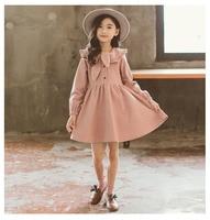 School Corduroy Teen Girls Cotton Dress Children Long Sleeved A line Autumn Baby Girls Kids Tops Spring Clothing 2018 New Arrive