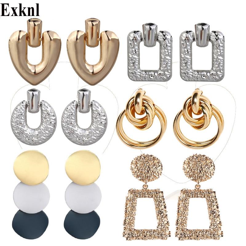 Exknl Drop Round Earrings For Women Gold Color Big Earrings 2019 Fashion Jewellery Vintage Statement Earrings Trendy Summer 2019