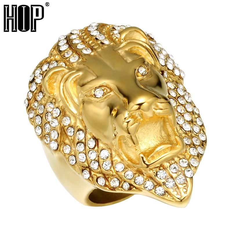 HIP Hop Micro Pave strassz Iced Out Bling Oroszlán fej férfi ring - Divatékszer