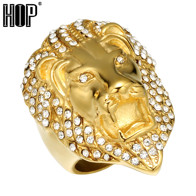 HIP Hop Micro Pave Rhinestone Iced Out Bling Lion Head Mens Ring IP Gold Filled