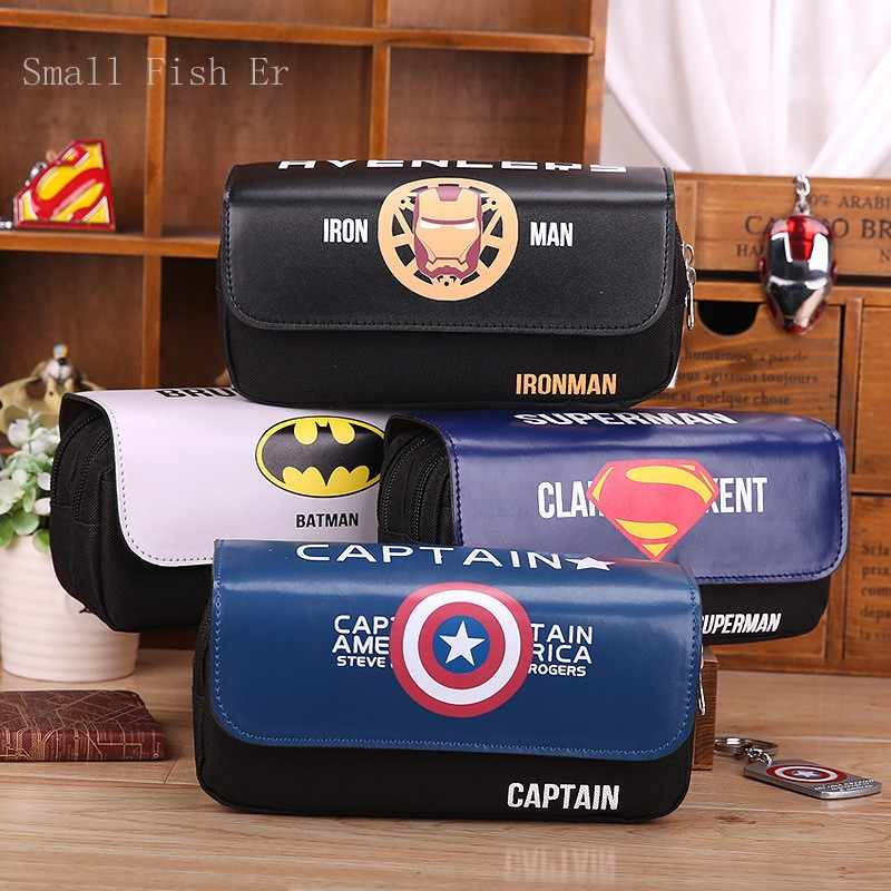 Cartoon Heroes Series Leather pencil case Cute Big capacity Double zipper school Pen bag for kids office school supplies Canetas