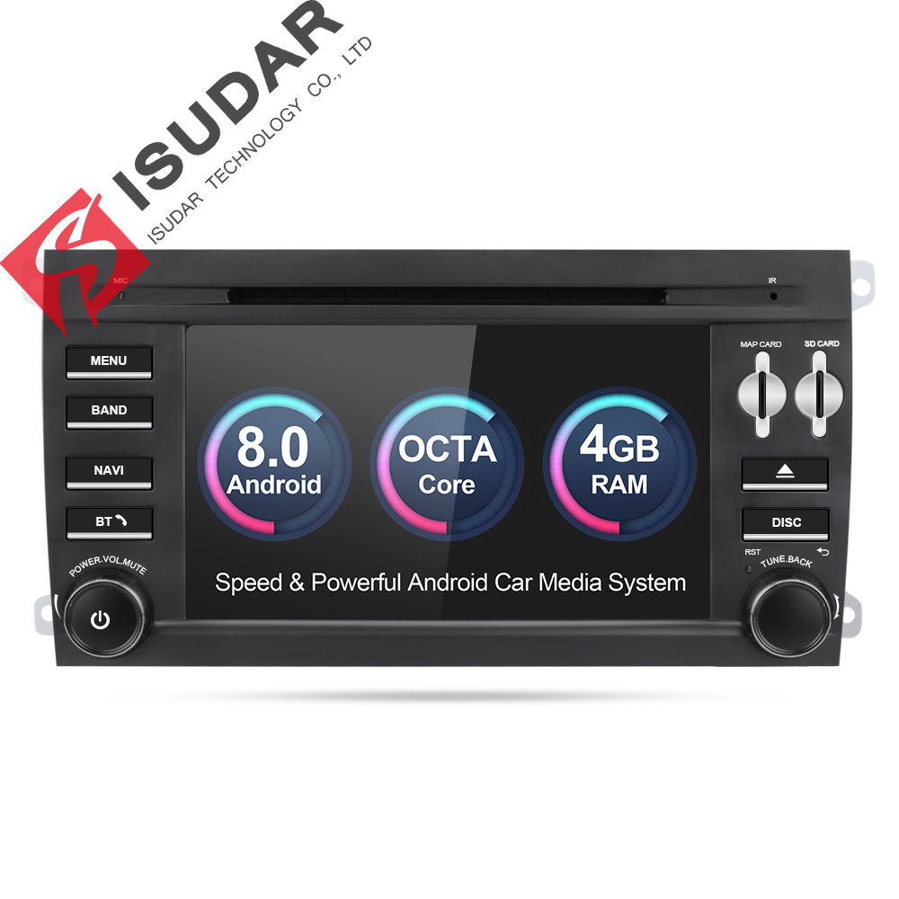 Isudar 2 Reprodutor multimídia Carro din rádio do carro do gps do Android 8.0 Para Porsche/Cayenne OBD2 Microfone Bluetooth USB DVR wi-fi DAB