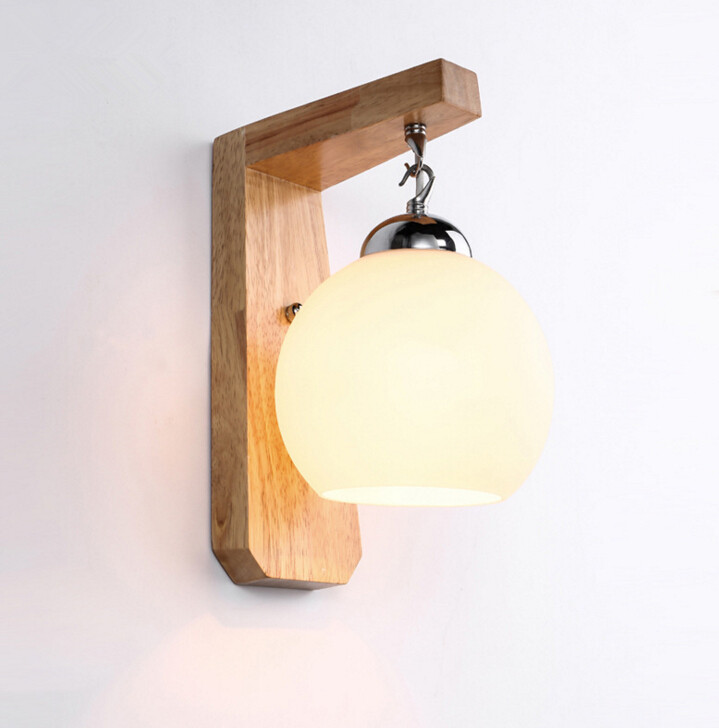 Modern Simple Stairs Aisle Wood Wall Lamp Bedroom Bedside Lamp Glass Wall Light Free Shipping