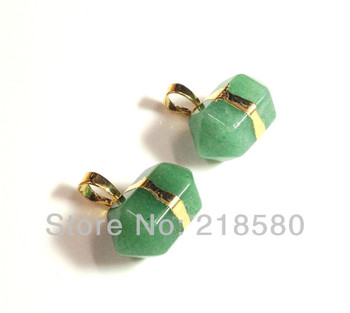 H-RQP08 10pcs Aventurine Quartz Petite Nugget Pendant with Gold or Silver Layered Edging approx 22mm x 12mm