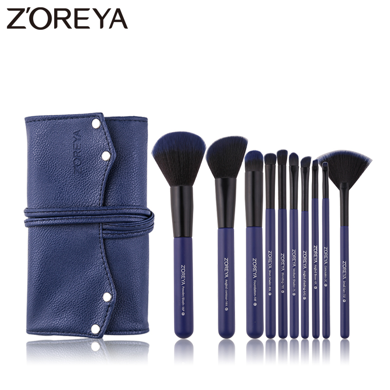 ZOREYA 10PCS Professional Makeup Brushes Dark Blue Make Up Brush Set Foundation Blush Powder Eye Brow Concealer Cosmetic Tools