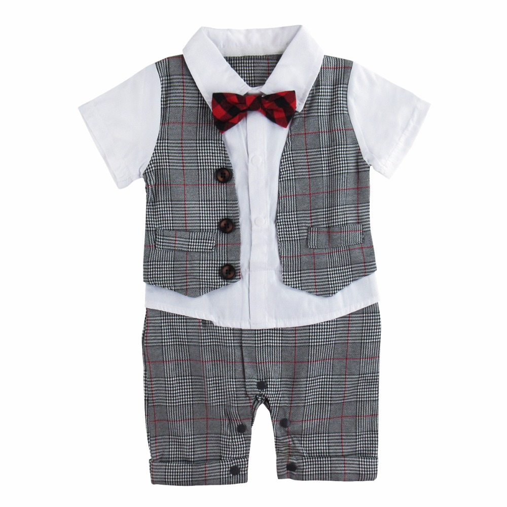 Baby Boy Gentleman Romper Short Sleeve with Bow Tie Suit Set Infant Toddler Vest