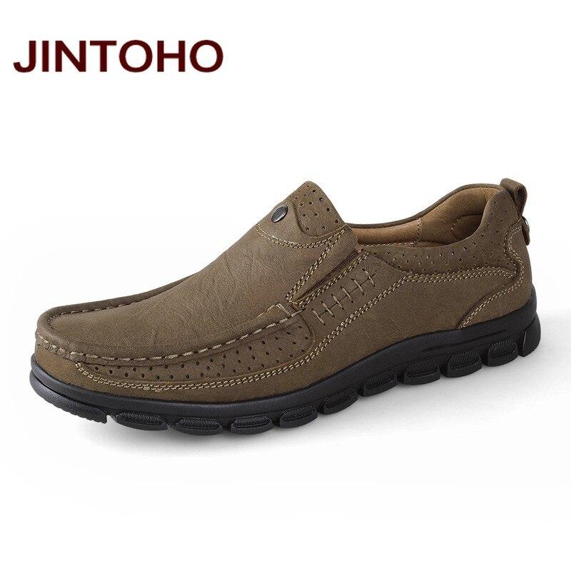 JINTOHO Plus Size Men Flats Fashion Casual Men Office Shoes Slip On Loafers Men Classic Shoes