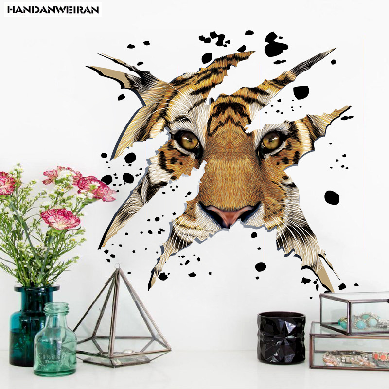 45*45CM Company / office decorative wall stickers domineering personality tiger head STICKER living room background stickers
