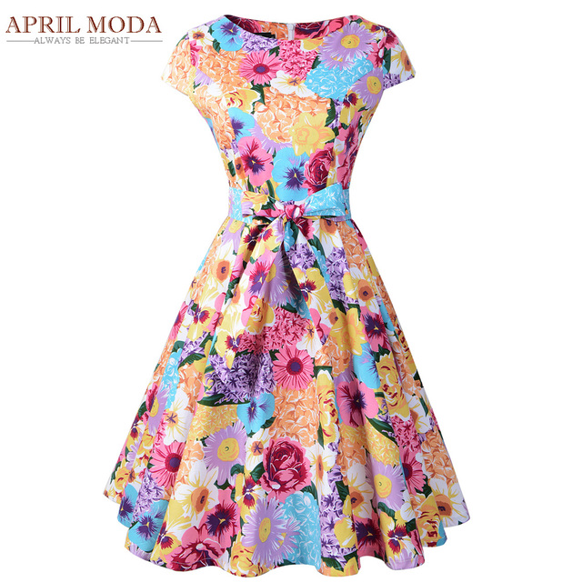 Colorful Flower Rockabilly Women Dress 50s Audrey Hepburn Style Summer Vintage Retro Party Swing Pin